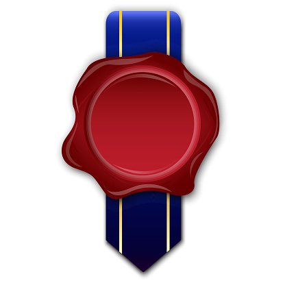Royal sealing wax for paper design. Sealing wax in royal style. Document icon vector. Stock image. EPS 10.