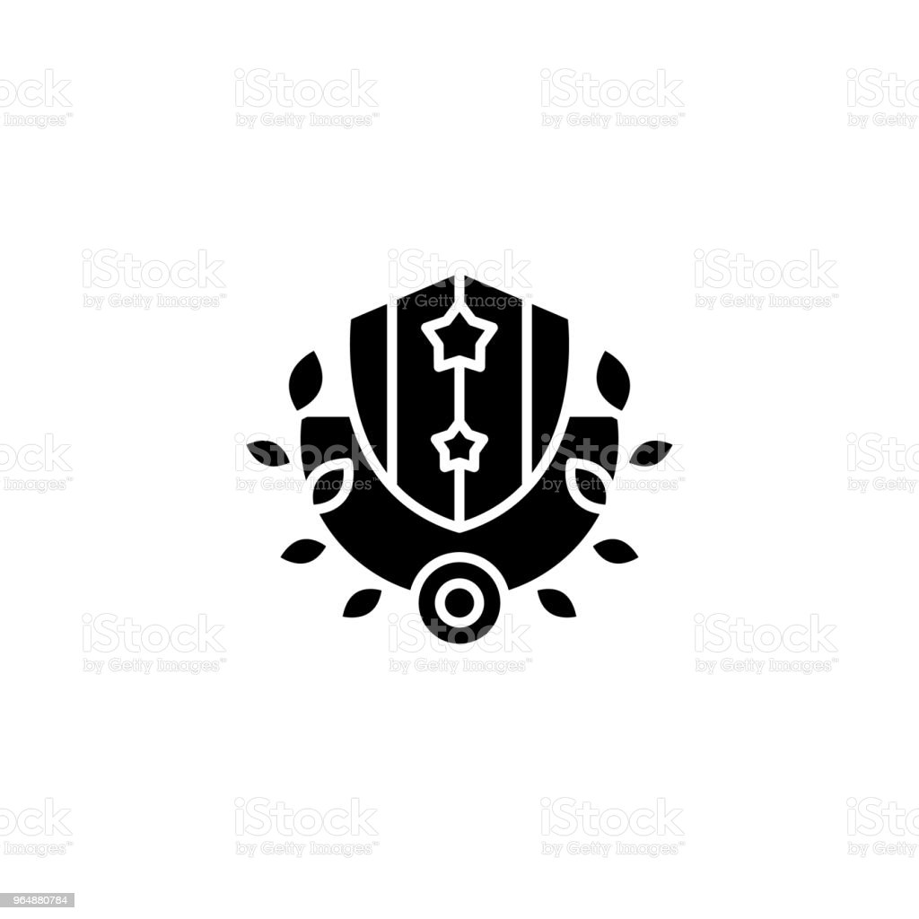 Royal shield and wreath black icon concept. Royal shield and wreath flat  vector symbol, sign, illustration. royalty-free royal shield and wreath black icon concept royal shield and wreath flat vector symbol sign illustration stock vector art & more images of anniversary