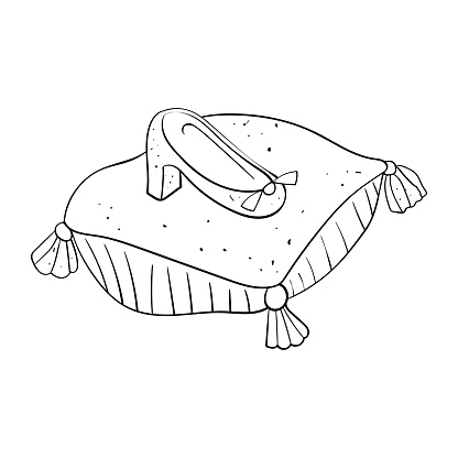 Royal Shoe on a Pillow Clipart Coloring Vector