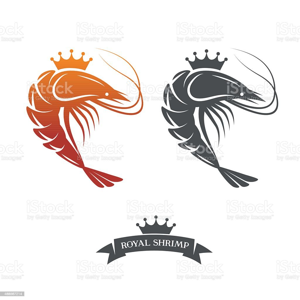 Royal shrimp vector logo vector art illustration