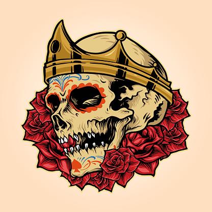 Royal Skull King Crown with Rose Illustrations Vector Mascot Logo