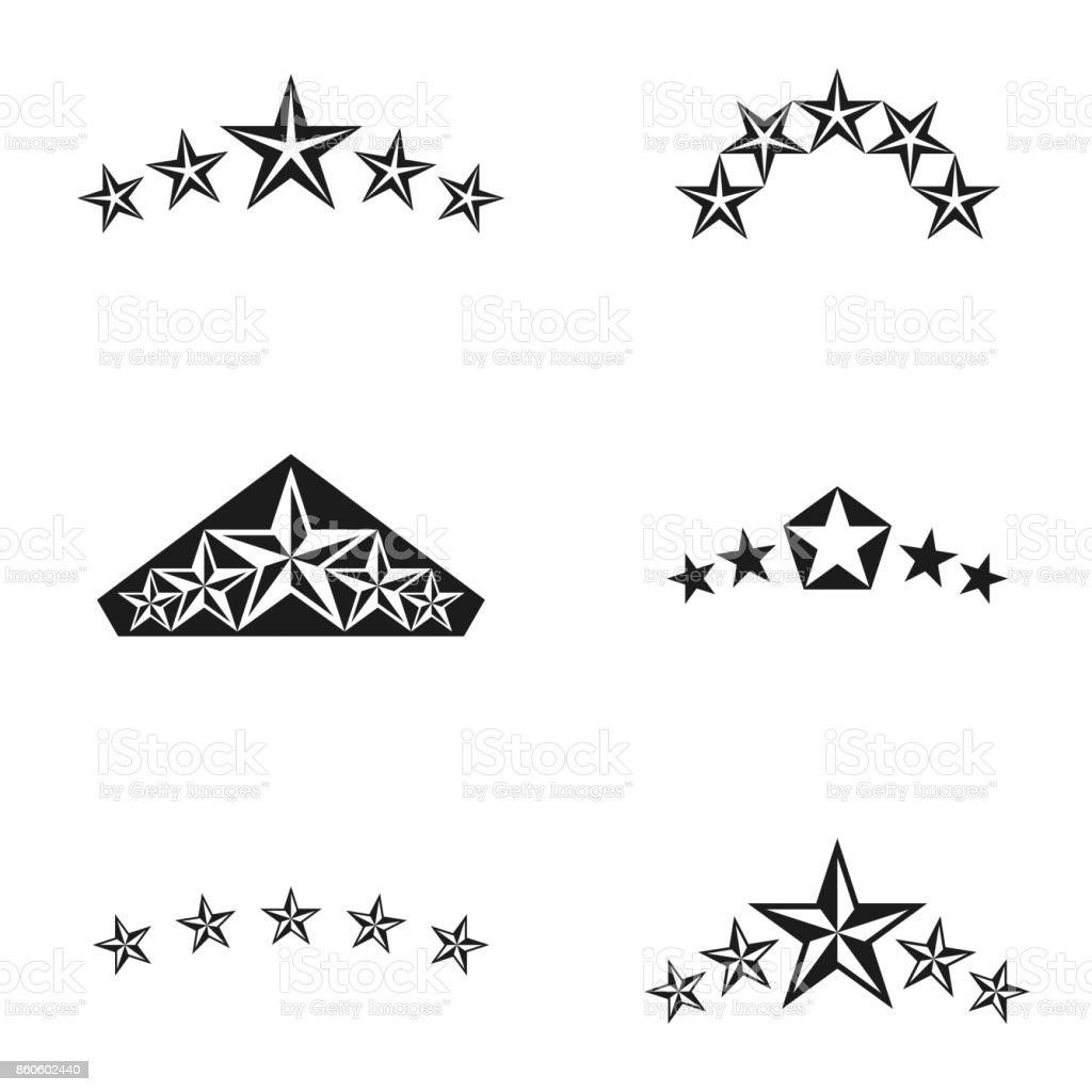Royal Stars emblems elements set. Decorative Heraldic Coat of Arms isolated vector illustrations collection. vector art illustration