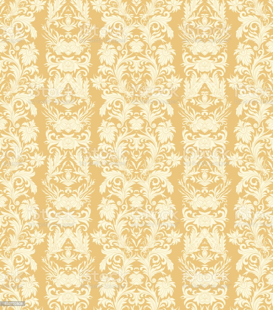 Royal Striped Seamless Pattern Rococo Floral Wallpaper Damask Background Royalty Free