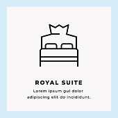 Royal Suite Single Line Icon on Blue Background