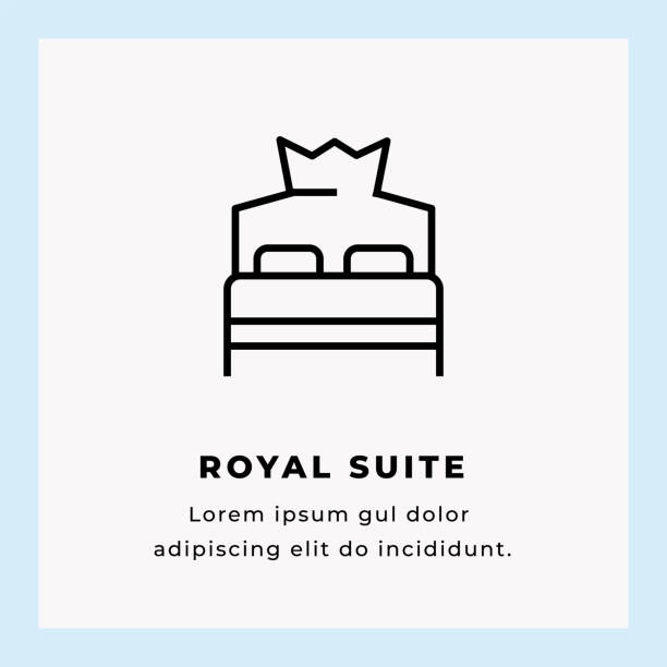 Royal Suite Single Line Icon Royal Suite Single Line Icon on Blue Background luxury hotel room stock illustrations