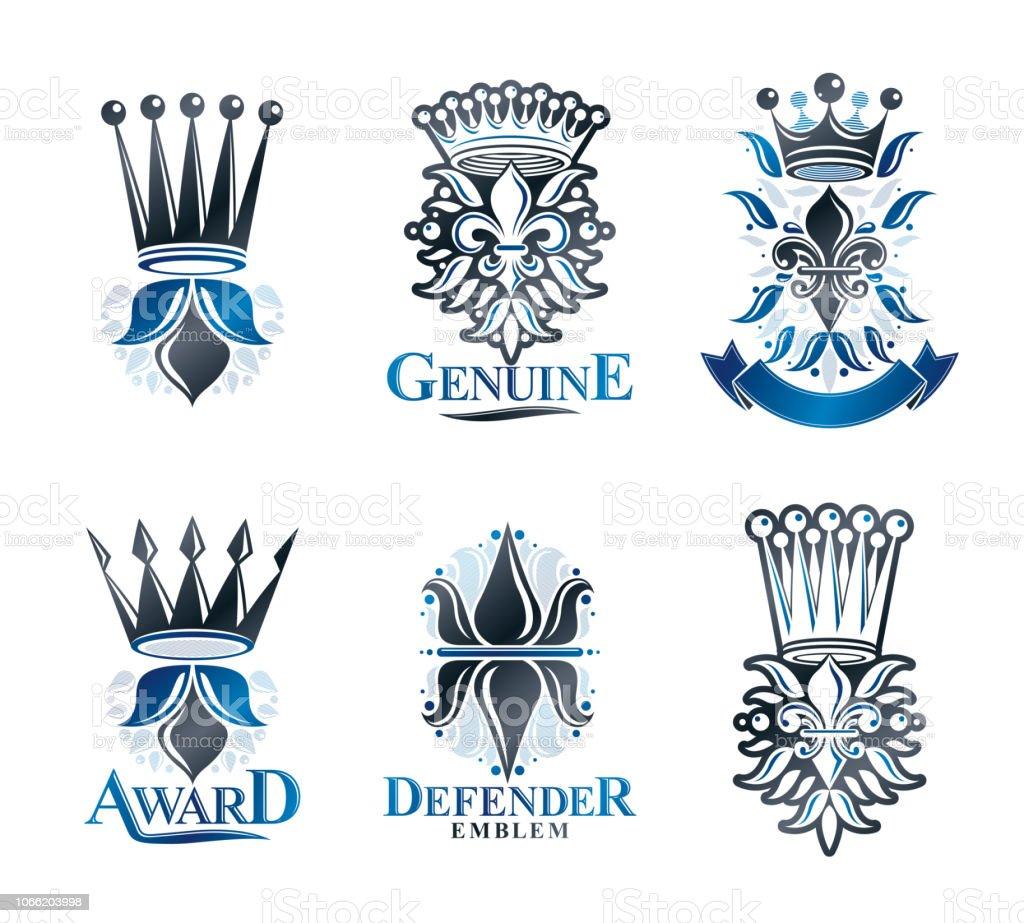 Conjunto de símbolos Royal emblemas de flores alvas. Coleção de elementos de design vector heráldica. Rótulo de estilo retrô, heráldica. - ilustração de arte em vetor