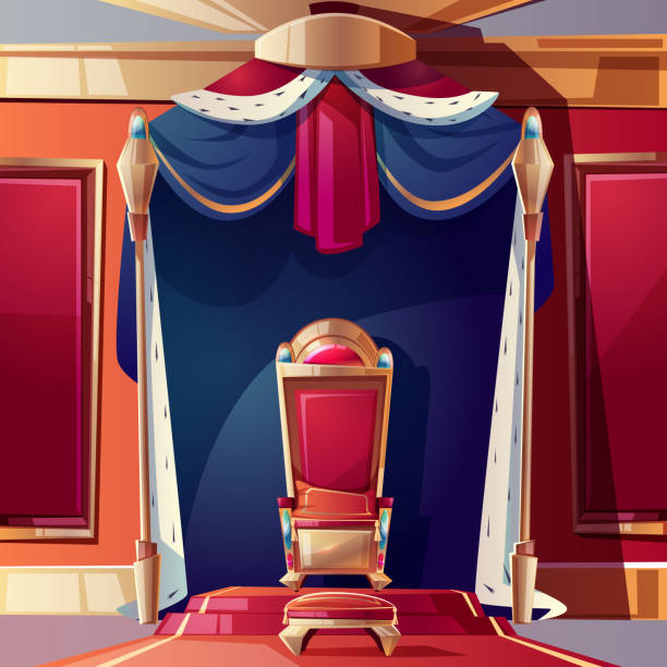 Royal throne in medieval castle cartoon vector Golden kings throne inlaid with gems, ottoman and pillow on seat, standing on pedestal in ballroom or castle throne room cartoon vector illustration. Fantasy game design element. Monarchy power symbol ermine stock illustrations