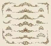 Royal victorian filigree design elements. Vector retro queen flourish swirls and antique calligraphy borders