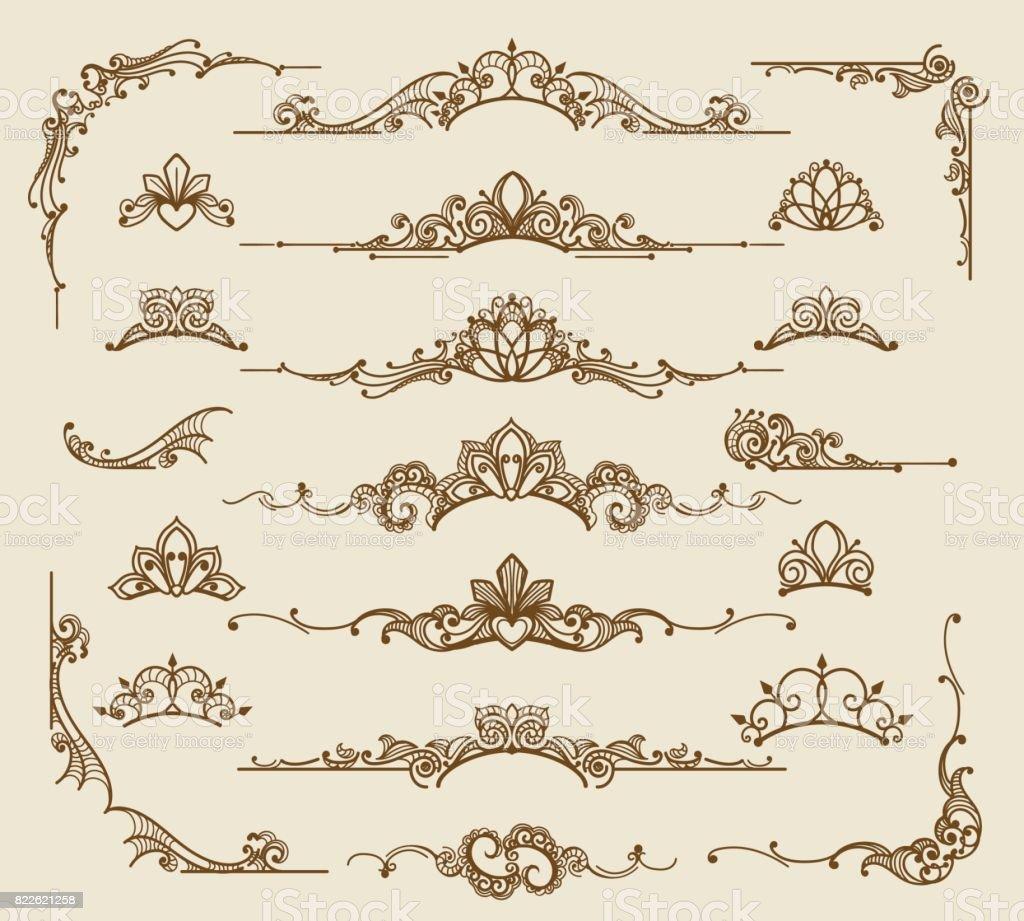 Éléments de conception filigrane victorien Royal - Illustration vectorielle