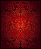 Royal, vintage, elegant background in red with gold, with classic Baroque pattern