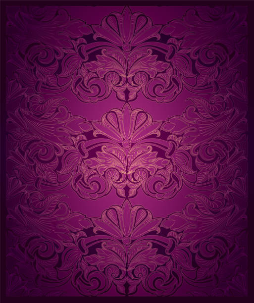 Royal Vintage Elegant Vertical Background In Purple With Gold Vector Art Illustration