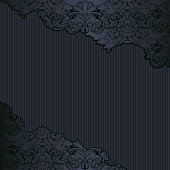 Royal, vintage, Gothic background in black with classic Baroque, Rococo ornaments. square format