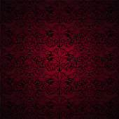 Royal, vintage, Gothic background in dark red and black with a classic Baroque pattern, Rococo