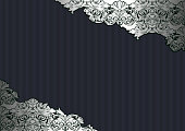 Royal, vintage, Gothic background in silver and black with classic Baroque, Rococo ornaments. horizontal format