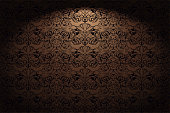 istock Royal, vintage, Gothic horizontal background in gold, bronze, caramel, chocolate with a classic Baroque pattern, Rococo 1163472598