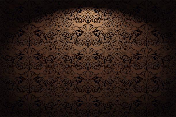 ロイヤル、ヴィンテージ、ゴールド、ブロンズ、キャラメル、チョコレート、古典的なバロック様式のチョコレート、ロココのゴシックな水平背景 - ロココ調点のイラスト素材/クリップアート素材/マンガ素材/アイコン素材