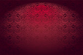 Royal, vintage, Gothic horizontal background in red with a classic Baroque pattern, Rococo.With dimming at the edges