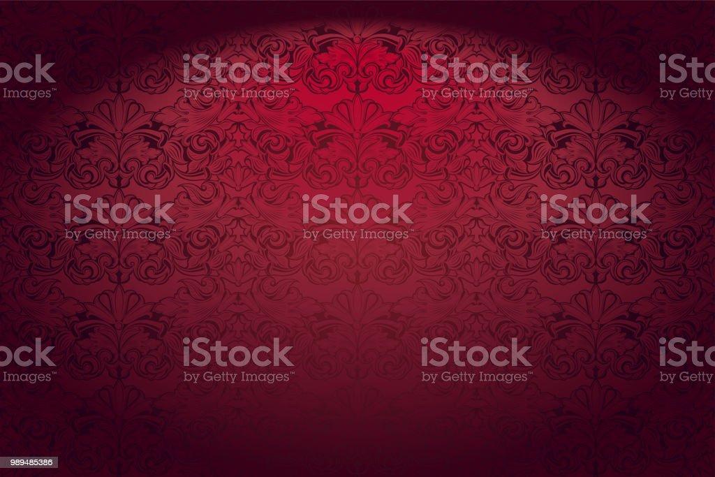 古典的なバロック様式のパターン、ロココと赤でロイヤル, ビンテージ, ゴシック水平背景 ベクターアートイラスト