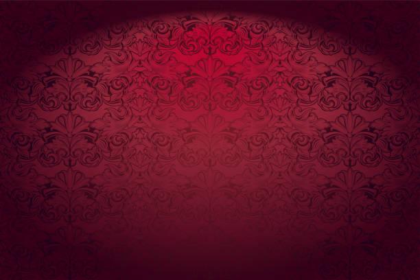 클래식 바로크 패턴, 로코코와 레드에 로얄, 빈티지, 고딕 양식의 가로 배경 - 왕족 stock illustrations