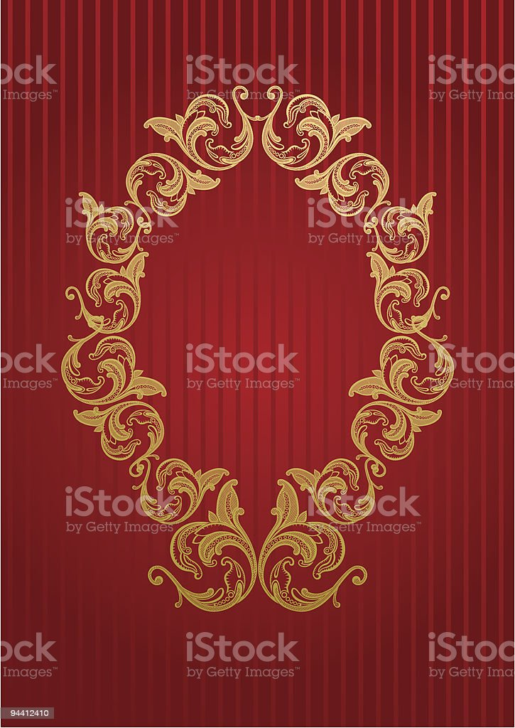 Royal wallpaper with floral frame royalty-free stock vector art