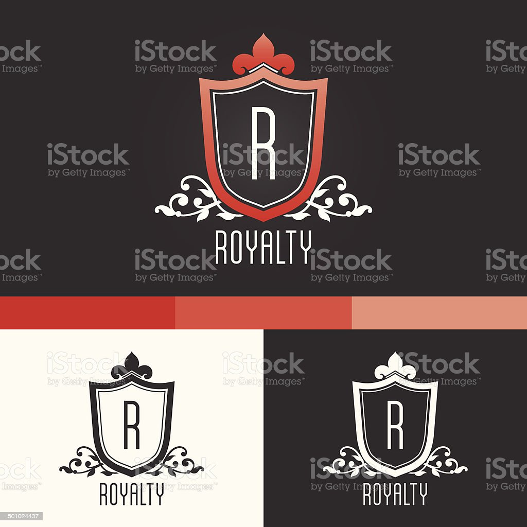 Royalty Crest Ornament Template. Vector Elements. Brand Icon Design Illustration vector art illustration