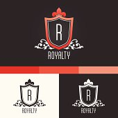 Royalty Crest Ornament Template. Vector Elements. Brand Icon Design Illustration