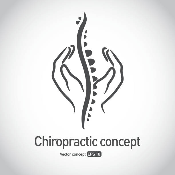 Royalty free Chiropractic symbol hands massaging spine concept icon vector art illustration