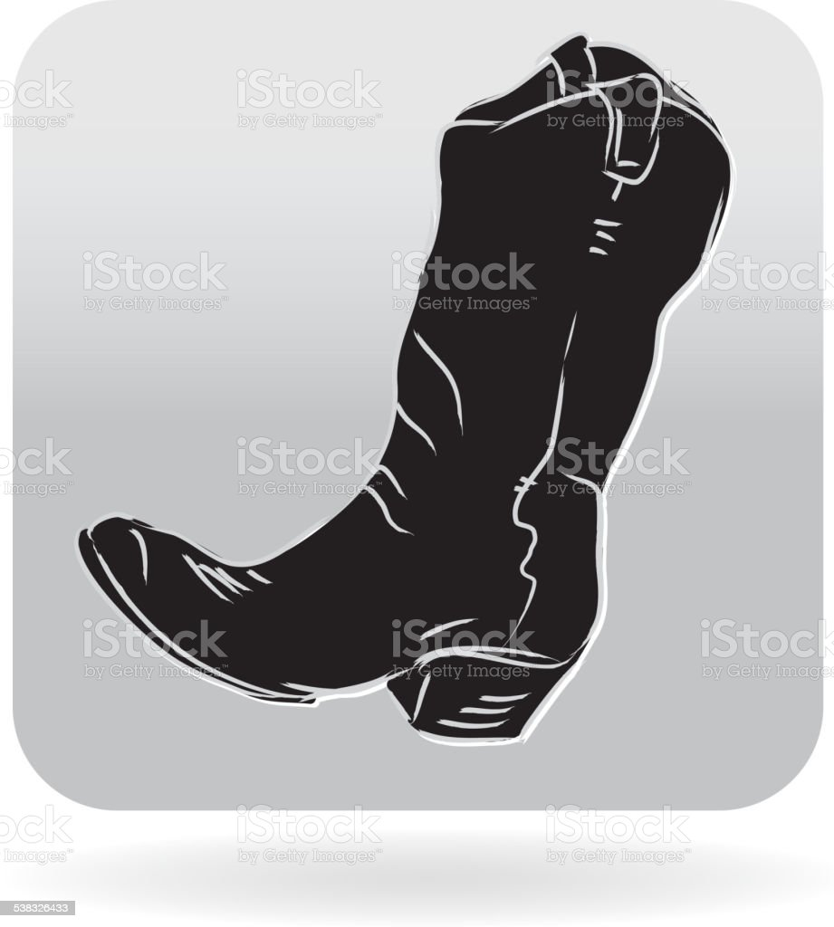 Royalty free Country and western simple cowboy boot icon vector art illustration