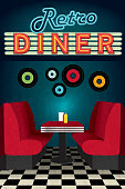 Late night retro 50s Diner scene