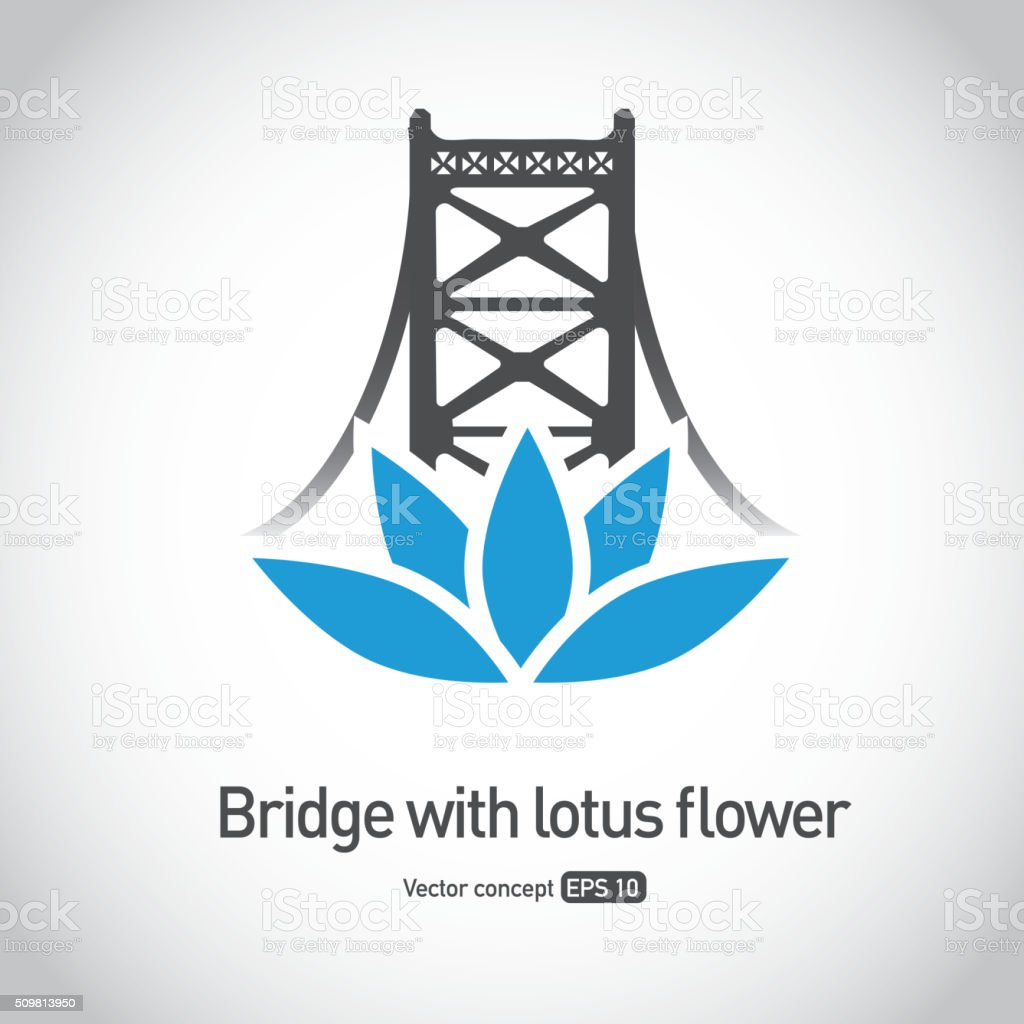 Royalty Free Suspension Bridge With Lotus Flower Symbol Icon Concept