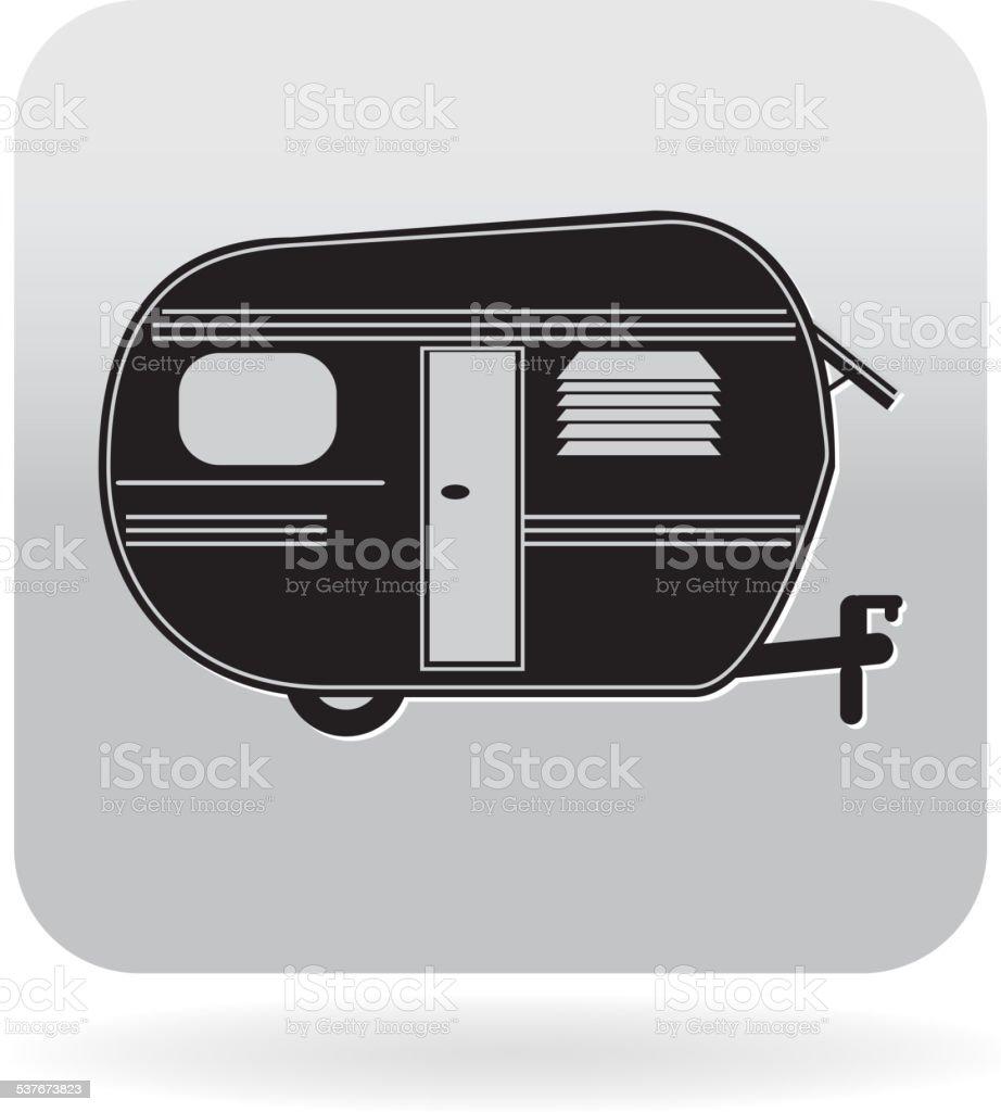 Royalty free Trailer mobile home or camper icon vector art illustration