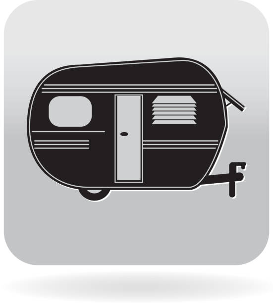 Royalty Free Trailer Mobile Home Or Camper Icon Vector Art Illustration Sunny Park