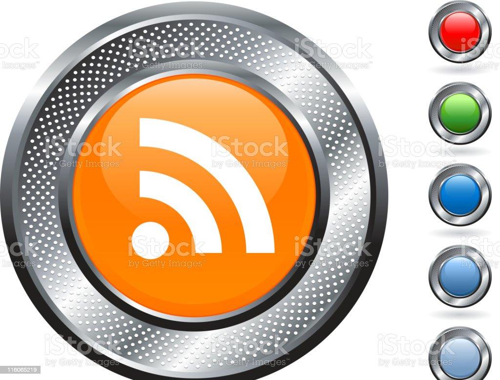 RSS royalty free vector art on metallic button royalty-free stock vector art