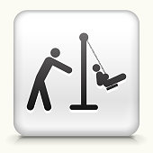 Royalty free vector icon. The black interface icon is on a simple white Background. Button has a bevel effect and a light shadow. 100% royalty free vector file and can be easily modified, icon download comes with vector graphic and jpg file. White Square Button with Parent Pushing Child on The Swings