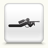 Royalty free vector icon. The black interface icon is on a simple white Background. Button has a bevel effect and a light shadow. 100% royalty free vector file and can be easily modified, icon download comes with vector graphic and jpg file. White Square Button with Person Shooting on the Ground