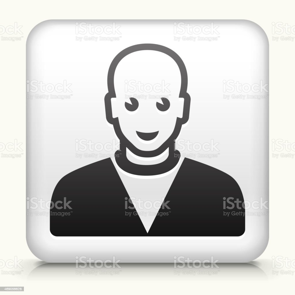 Royalty free vector icon button with Bald Male Icon vector art illustration