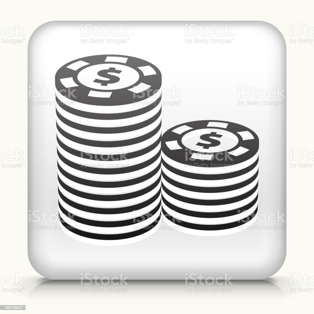 Royalty free vector icon button with Poker Chips vector art illustration