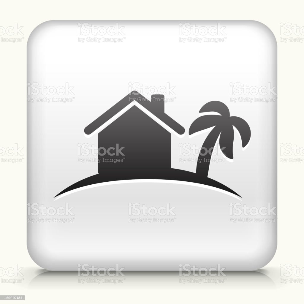 Royalty free vector icon button with Tropical Home Icon vector art illustration