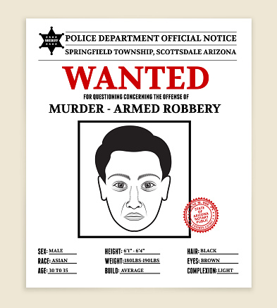 Royalty free vector illustration Most Wanted Poster