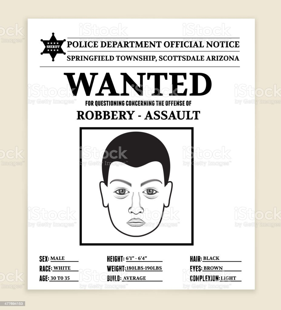 Royalty free vector illustration Most Wanted Poster vector art illustration