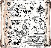 Includes: Egyptian pyramids, pharaoh, hierogliphics, boats,sphinx,camels,Romans