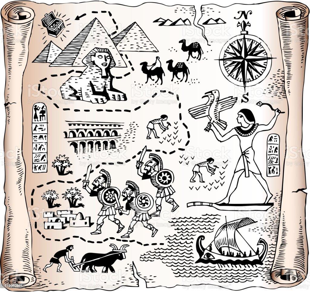 royalty free vector map of Egyptian kingdom vector art illustration