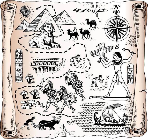 ilustrações, clipart, desenhos animados e ícones de royalty free vetor mapa do egito kingdom - mapas de tesouro