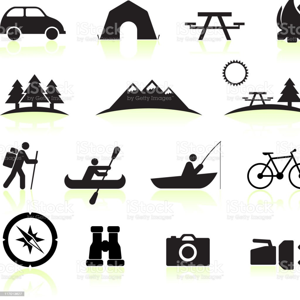 royalty free vector Summer Camping black and white icon set royalty-free royalty free vector summer camping black and white icon set stock vector art & more images of bicycle