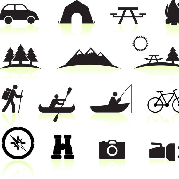 royalty free vector Summer Camping black and white icon set vector art illustration