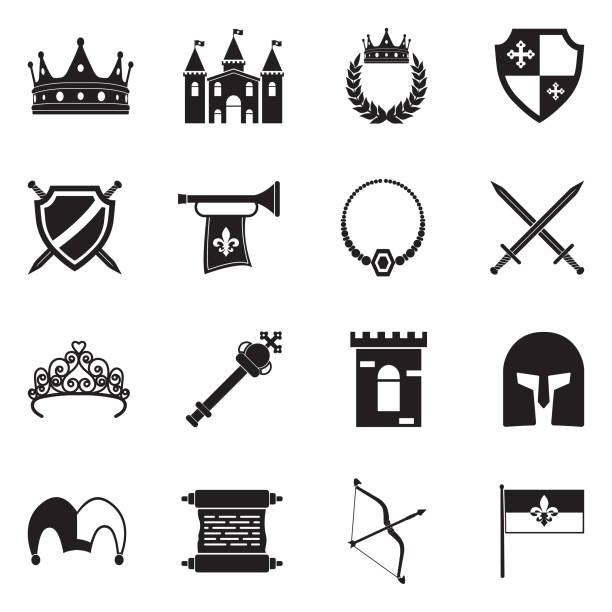 illustrations, cliparts, dessins animés et icônes de icônes de la royauté. design plat noir. illustration vectorielle. - sceptre