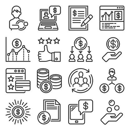 Royalty Program Icons Set on White Background. Vector illustration