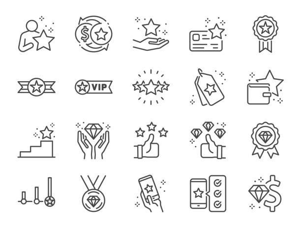 illustrazioni stock, clip art, cartoni animati e icone di tendenza di royalty program line icon set. included icons as member, vip, exclusive, diamond, badge, high level and more. - bonus