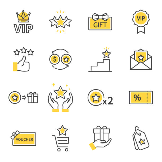 Royalty program line icon set. Included icons as member, VIP, Exclusive, Reward, Voucher, High level, Gift Cards, Coupon, outline icons set, Simple Symbol, Badge, Sign. Flat Vector thin line Icon vector art illustration