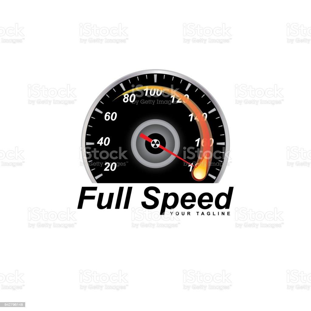 rpm full speed logo vector art illustration